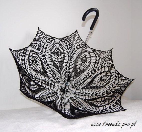Tulip Umbrella- Black Parasol- Victorian Lace Umbrella- Goth Umbrella- Photo Prop- Black Wedding Prop- Steampunk umbrella- Valentines Gift