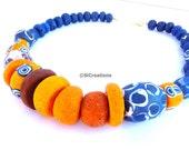 Blue and orange Celtic Necklace