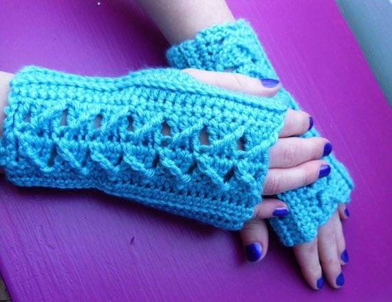 Hand crocheted blue hand warmers or fingerless gloves