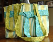 SALE, In Stock - Lime and Teal Tote