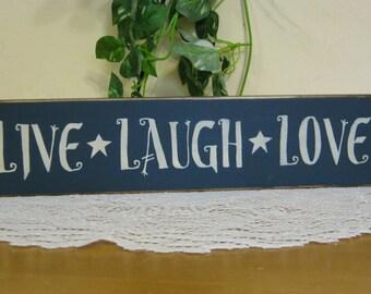 "wood ""Live Laugh Love"" block shelf sitter - your color choice"