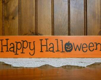 """Primitive """"Happy Halloween"""" block sitter sign"""