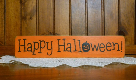 "Primitive Large ""Happy Halloween""  4.5"" x 24"" wooden sign"