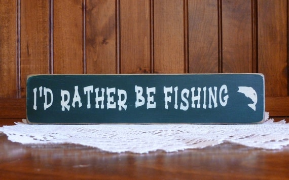 "wood ""I'd rather be fishing"" block shelf sitter - any color choice"