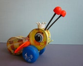 Vintage Queen Buzzy Bee pull wooden pull toy from Fisher Price