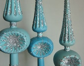 Christmas tree topper turquoise blue handpainted with silver glitter