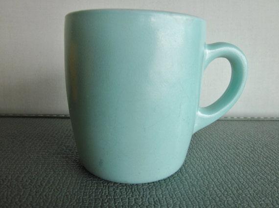 Vintage Hazel Atlas mug in Aqua fired on finish over milk glass