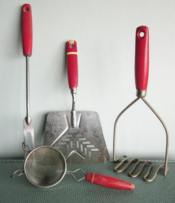 Vintage Red Handle Kitchen Tools Instant By SWEPTinFROMtheSEA