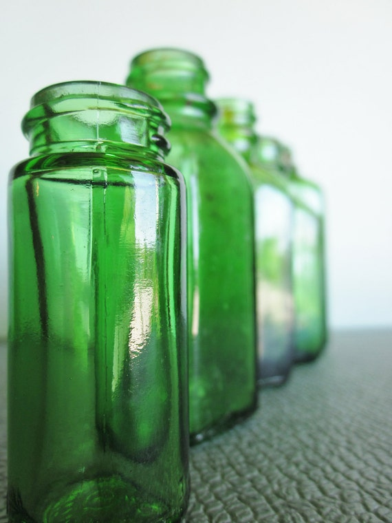 Vintage green glass bottle collection