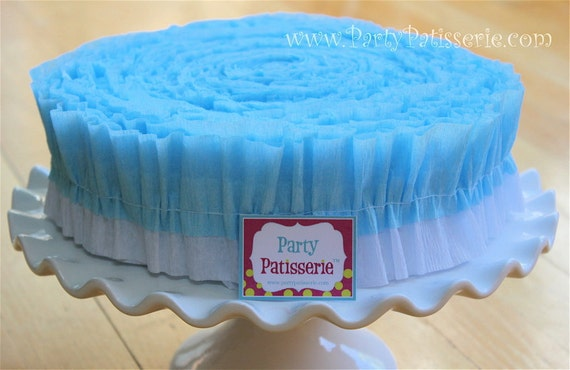 Ruffled Crepe Paper: Baby Blue and White