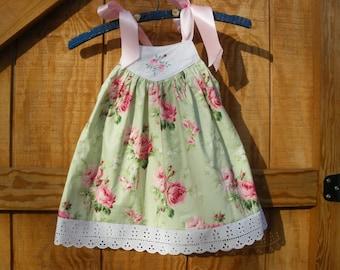 girls sundress green and pink rose sundress size 18mo