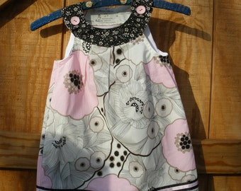 Girls pink gray dress, spring sundress, available to order, 12mos to 4T to order.