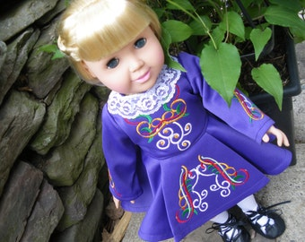 Dance costume Irish dance dress  for American Girl doll available to order