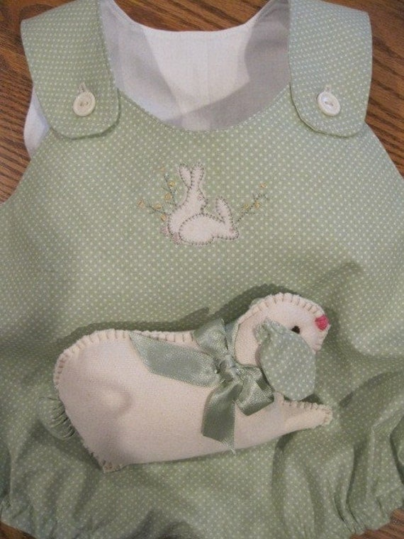 Boys Easter bunny green Romper suit and stuffed bunny infant toddler  available to order 3-24mo