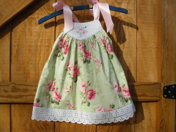 girls sundress green and pink rose 18mo ready to ship sizes 12m18m 2T,3T,4T available to order