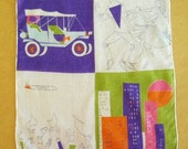 vintage hankie swissair 50s swissair souvenir hankie 11 x 10 airplane car dancers free shipping