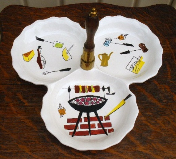 Vintage 50s ceramic barbeque bbq theme serving relish dish 3 section dish