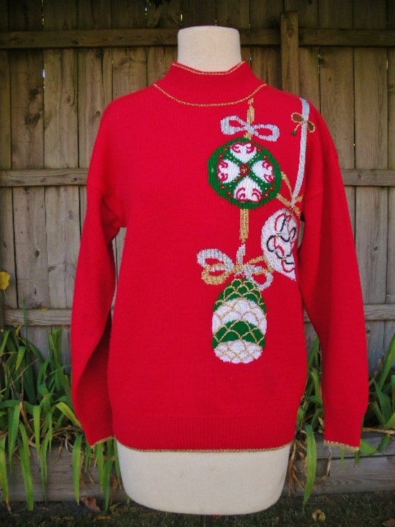 ugly christmas sweater Vintage 80s red gold and silver sparkle large ornaments sweater m l