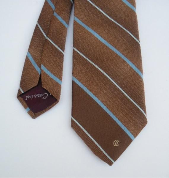 vintage stripe necktie 80s Oleg Cassini coppery tan stripe tie oc logo  free shipping