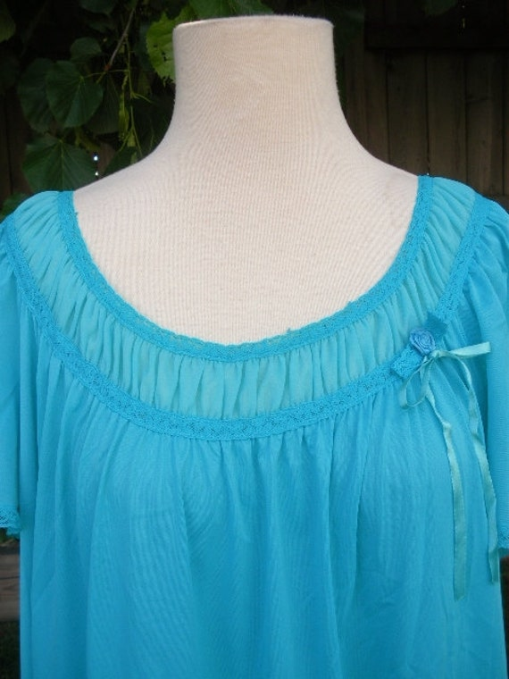 vintage vanity fair nightgown 60s 70s turquoise blue trapeze gown flutter sleeves l xl xxl mad men made in usa