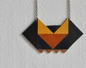 triangle necklace leather - green/yellow/blue/copper