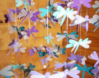 Teal and Purple Dragonflies with Vellum Mobile
