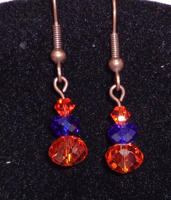 Copper or Silver Orange and Blue Dangle earrings
