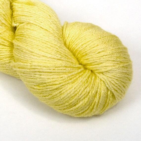 BFL Silk Fingering Yarn in Lemon Squeeze