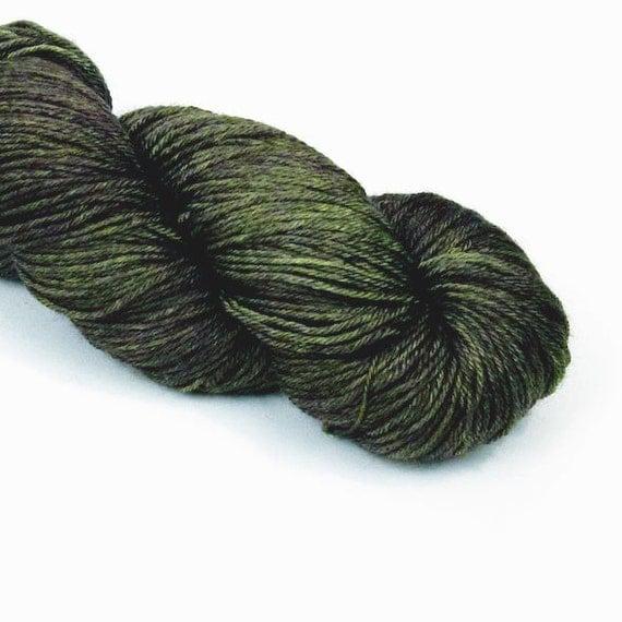 BFL Silk Fingering Yarn in Deep Dark Woods