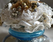 Wedding Cake Topper Lace Handmade Paper Roses Vintage Victorian Brooch Bouquet SEE FACEBOOK For DISCOUNT