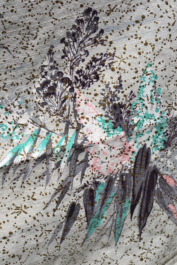 RESERVED FOR DOLLIE Barkcloth Vintage 40s Curtain Panels (9) Fab Grey Pink Black Turquoise Gold Metallic Floral Print