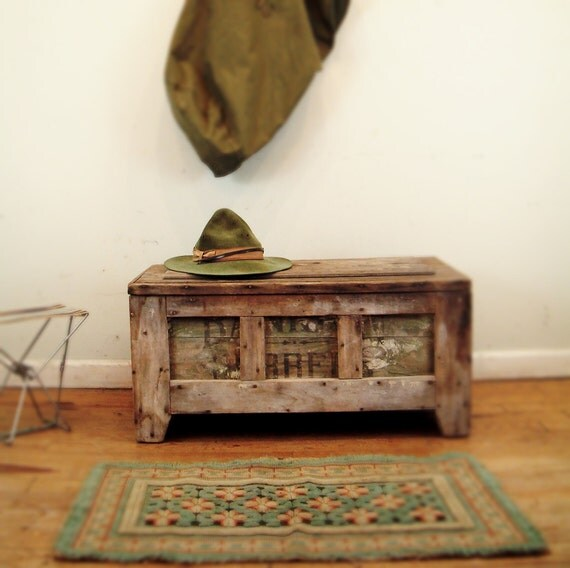 Circa 1910 Coffee Table Primitive Industrial Crate Made