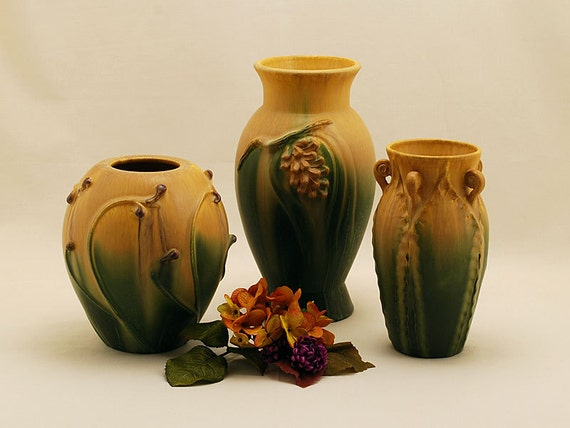 Sale Catalog Group in Autumn Mix by Door Pottery-  Arts and Crafts Style - Handmade Art Pottery