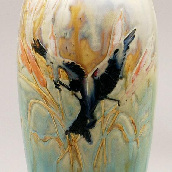 Carved Redwing Blackbird Crystalline Vase - Porcelain by Kyle Kreigh - Door Pottery - Arts & Crafts Style - OOAK