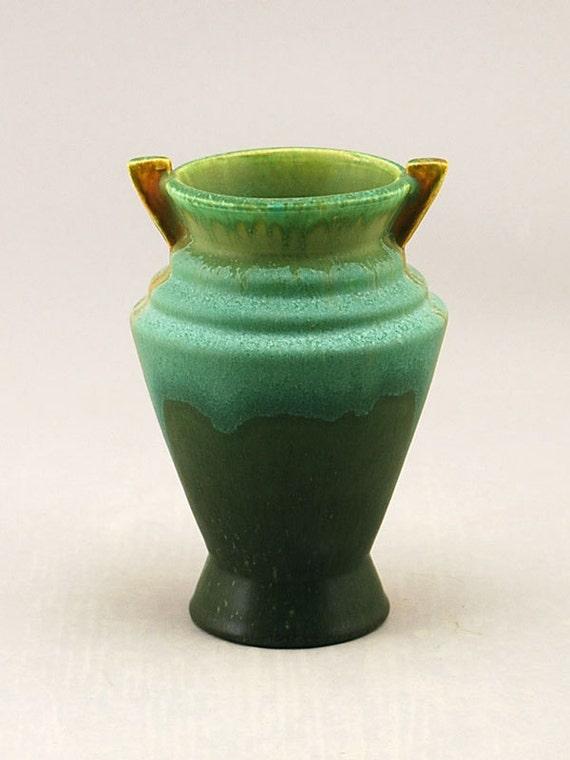Atomic Handled Stepped Rim Vase by Door Pottery - Mid Century Modern Style- Handmade Art Pottery