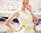 VEGA III - Ivory Taffeta Floral Bridal Sash with Avocado Green Ribbon
