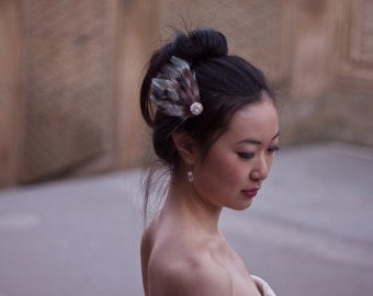 FAE - Feather Hair Fascinator with Jewel Detail, FREE SHIPPING