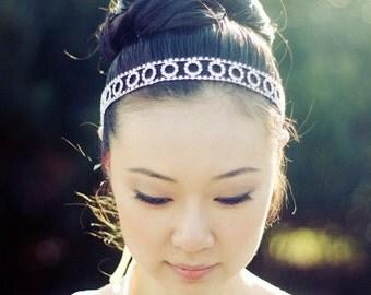 SIMONE - Silver Crystal Rhinestone Bridal Headband