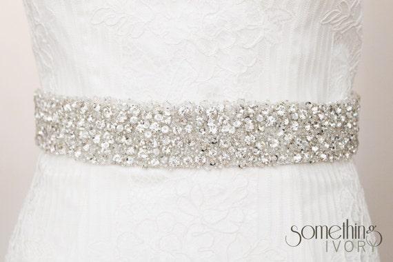 ADELE - Clear Rhinestone Beaded Bridal Wedding Belt