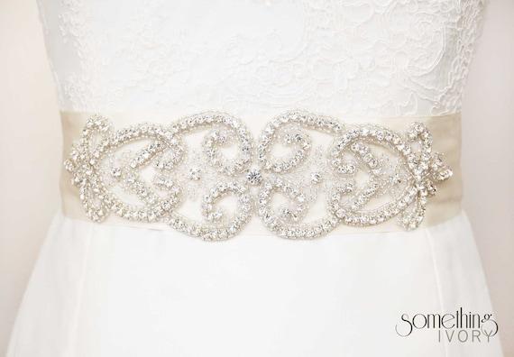 PAIGE - Beaded Rhinestone Bridal Wedding Sash