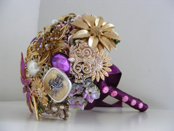 RESERVED Vintage brooch wedding bouquet in magenta pink purple and gold