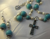 1/2 OFF SALE,  Turquoise Pewter Cross Necklace With Pearls  And Turquoise Beads, Matching Earrings  Womens Gift  Handmade