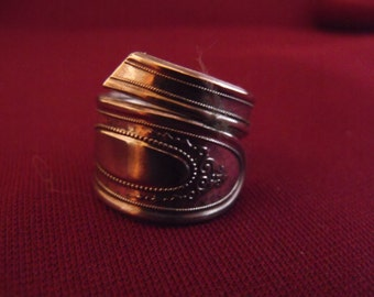 Silver Plated Spoon Ring Size Nine and one half 9-1/2  US Antique