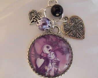 Silver Pendant Necklace,   Nightmare Before Christmas Image Pendant With Beads And Charms   Womens Charms Gift