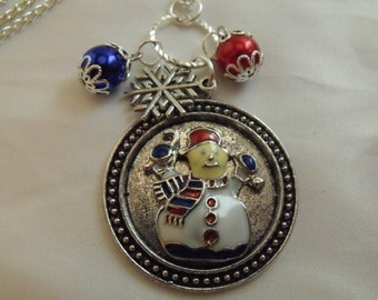 Silver Pendant Necklace,   Christmas Snowman Necklace Enameled With Charm Womens Gift Handmade
