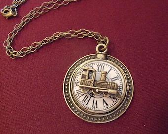 Bronze Pendant Necklace,  Steampunk Crazy Train Clock Face Pendant Mens Womens Gift Handmade