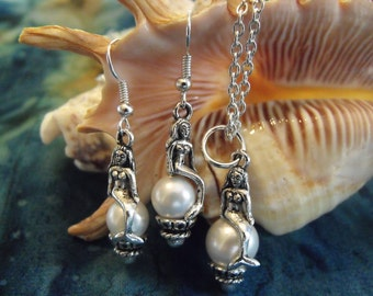 Silver Pendant Necklace,    Mermaid and Pearls Necklace and Earring Set,  Womens Gift