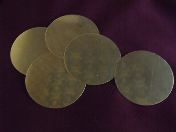 1 and three quarter inch (1-3/4 inch) raw brass metal discs for jewelry making or stamping