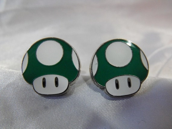Cool Video Game Green Mushroom Head Cufflinks Mens Accessory Wedding Groomsmen