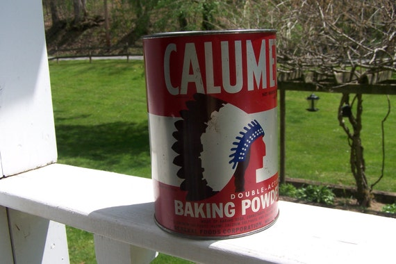 Great Vintage Bakers Calumet Baking Powder Tin 5 lb. Size